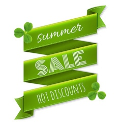 Summer Sale Ribbon Banner With Leaves vector image
