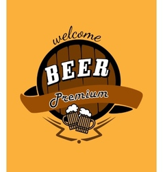 Tankard beer and barrel emblem vector image