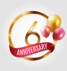 Template gold logo 6 years anniversary with ribbon vector