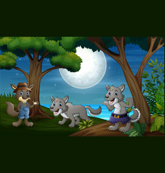 Three wolves hunt at night vector