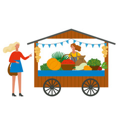 Trade tent with vegetables customer and vendor vector