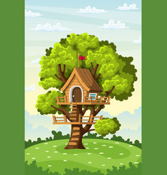 Treehouse on a meadow vector