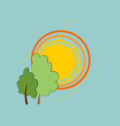 two trees with sun vector image