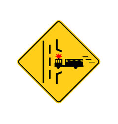 usa traffic road signs fire truck entrance ahead vector image