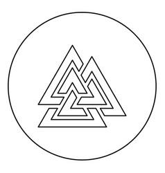 Valknut symbol icon in circle round outline black vector
