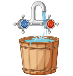 water tap hot and cold and bucket water vector image