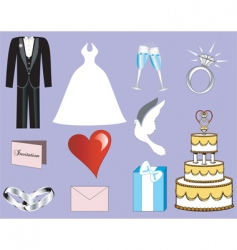 wedding button icons vector image vector image
