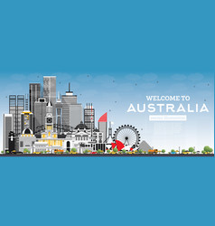 Welcome to australia skyline with gray buildings vector