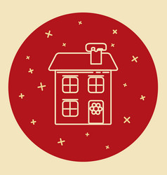 Winter house icon in thin line style vector