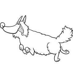 cartoon shaggy dog for coloring book vector image vector image