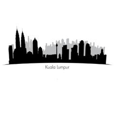 Kuala Lumpur skyline Black silhouette vector image vector image
