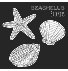 Black white shell Stickers isolated on black vector image