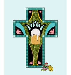 colorfull Easter stained glass vector image