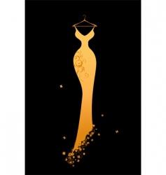 evening dress golden on hangers vector image