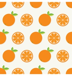 Orange fruit set with leaf in a row Cut half vector image vector image
