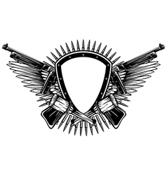 shield with crossed machine guns and grenade vector image