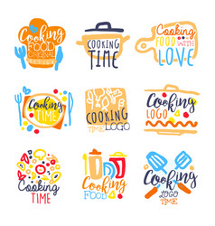 cooking time logo design set of colorful hand vector image vector image