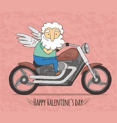 cupid rides on a cool motorcycle vector image