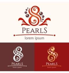 Eight pearls emblem template design set vector image