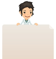 Female doctor looking at blank poster on top vector
