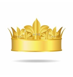 Gold crown with white gems vector image vector image