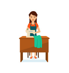 seamstress sitting at table to sewing machine vector image