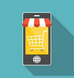 smart phone with shopping cart vector image vector image