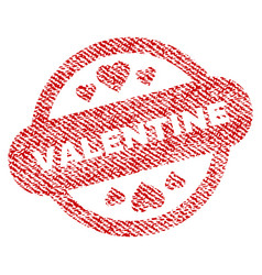 valentine stamp seal fabric textured icon vector image vector image