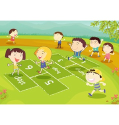 Young friends playing hopscotch vector image