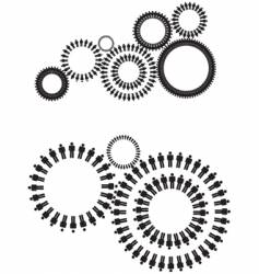 people cogs silhouette vector image vector image