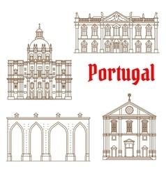 Portuguese travel landmarks of Lisbon icons vector image vector image