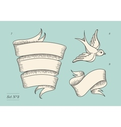 Set of old vintage ribbon banners and drawing in vector
