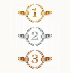 set of rank emblems - gold silver bronze vector image
