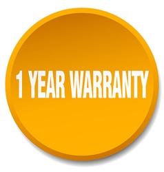 1 year warranty orange round flat isolated push vector