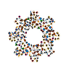 a group of people in a shape of cogwheel icon vector image