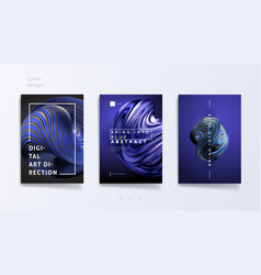 abstract cover template set with trendy 3d twisted vector image