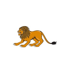 Angry Lion Crouching Side Cartoon vector