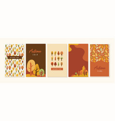 autumn landscapes vertical banners and wallpaper vector image