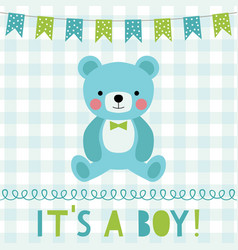 Baby boy arrival greeting card vector