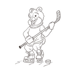bear hockey player coloring page vector image
