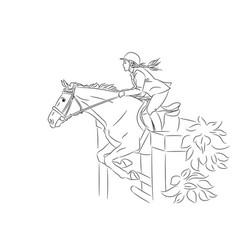 beautiful girl and horse jumping vector image
