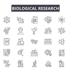 Biological research line icons for web and mobile vector