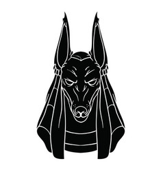 Black contour drawing of anubis on white vector