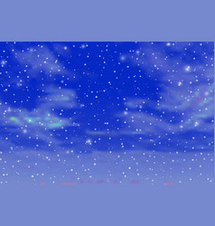 Blue cloudy sky with falling snow vector