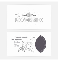 Business cards with hand drawn lemonade branding vector image
