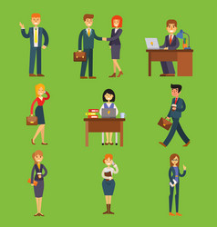 business people characters sitting meeting vector image