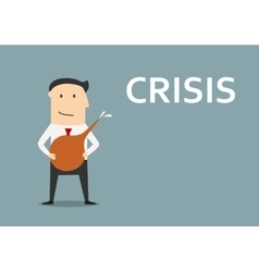 Businessman cleans out business from crisis vector image
