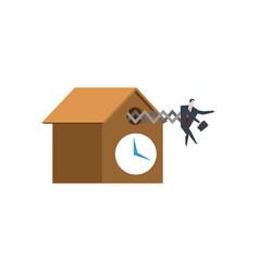 Businessman cuckoo in clock watch for boss vector