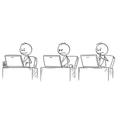 cartoon three businessmen working or typing on vector image