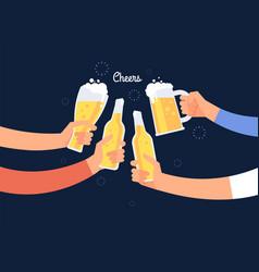 cheering hands cheerful people clinking beer vector image